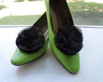 Vintage 1960's Chiffon Fabric Black Shoe Clips Black Rosette Shoe Clips Black Rosette Shoe Buckles Vintage Dress and Shoe Clips Wedding Clip