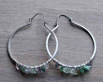 Aventurine hoop earrings - Titanium earrings - Statement earrings - Large Hoops - 0.8mm - 22ga - 20ga - Boho hoops - Gemstone hoops