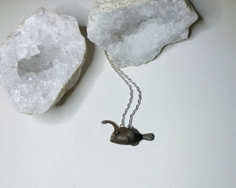 """Anglerfish Necklace - 18"""" Silver Chain - Made To Order - Glow in the Dark"""
