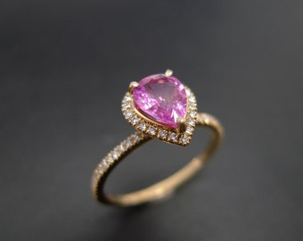 Pear Shaped Engagement Ring in 14K Yellow Gold, Pink Sapphire Engagement Ring, Diamond Engagement Ring, Diamond Band, Yellow Gold Ring