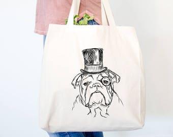 Winston the English Bulldog Tote Bag - English Bulldog Art, Gifts For Dog Owner, Bulldog Tote Bag, Dressed Dog, English Bulldog Love