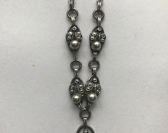 Vintage Marcasite Pearl Necklace Circa 1930