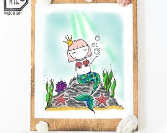 Home decor - print art - wall art - 8x10 print - mermaid print - mermaid lover - mermaid decor - mermaid life - mermaid illustration