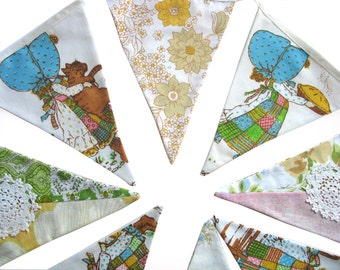 Holly Hobbie Vintage & Floral Flag Bunting.  HANDMADE . Party, Birthday, Banner Decoration or Girls Bedroom Pennant . GIFT IDEA
