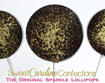 Black and Gold Lollipops, Sparkle Lollipops, Hard Candy Lollipops, Black and Gold, Gold Candy, Gold Favors, Holiday Candy, Set of Six