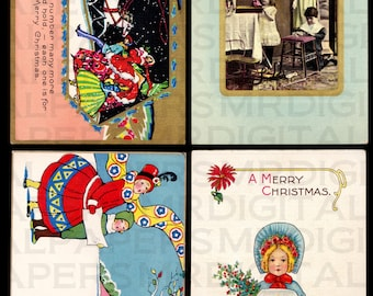 4 Four Antique Christmas Postcards. Caroling. 14 x 21. Digital Paper Download Scrapbooking Supplies. Instant Download. High Resolution