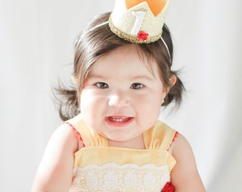 First Birthday Crown of Glitter || 1st Birthday Hat || Baby Girl Smash Cake || Princess Crown || Pale Yellow + Gold