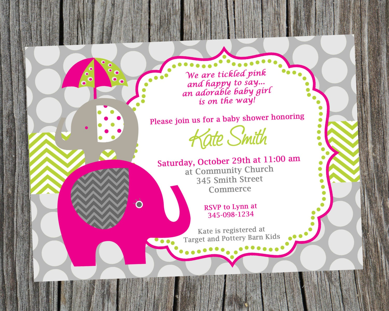 product invitations invitation pink printable elephant shower baby girl cute
