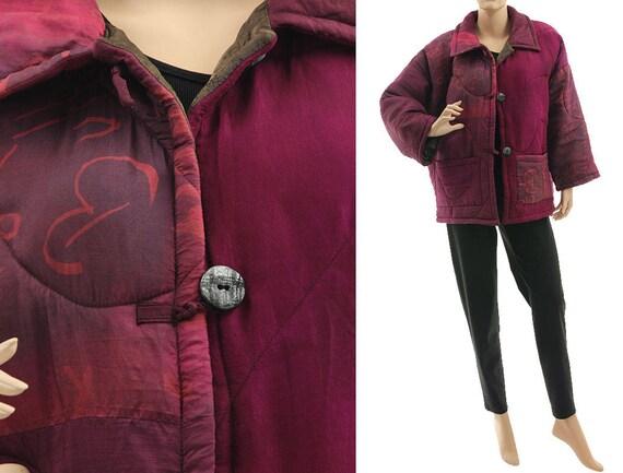 14 berry Boho 18 berry in jacket silk silk berry size summer jacket XL jacket size spring L silk plus US in fall burgund 100 patchwork ggraqSw
