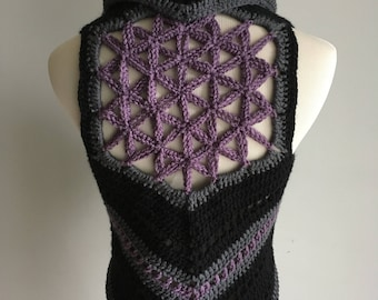 Flower of Life Vest / Crochet Boho Vest / Festival Vest / Made to Order