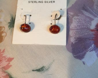 Vintage AMBER Sterling Silver  Pierced Earrings