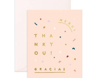Thank You Merci Gracias Greeting Card