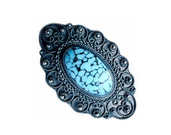 Blue Art Glass Brooch - Vintage 950 Silver Pin with Blue Mottled Glass and Granular Accents - Mother's Day Gift