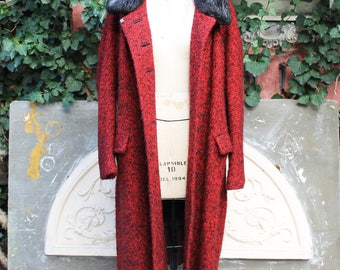 Long Wool Coat with Fur Collar, Black & Red Woven