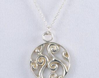 Fiddlehead Fern Sterling Silver Pendant