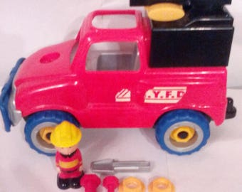 vintage plastic Toy nuts and bolts truck W/ Msan And Tools