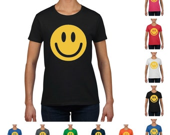 Smiley Face Women's Round Neck T-Shirt