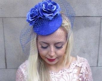 Royal Blue Birdcage Veil Rose Flower Fascinator Pillbox Hat Hair Races Vtg 4701