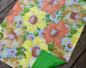Vintage Vera, Retro Linen Baby Blanket, Repurposed Designer Retro Sheet, New Flannel, Funky and Fun