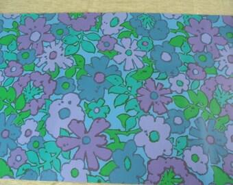 Flower power blue wallpaper by the yard / purple, blue and green / mod wallpaper