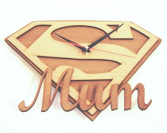 "Wooden wall clock "" SUPER MUM"" a perfect gift for a mother"