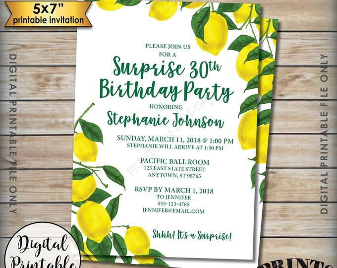 "Surprise Birthday Party Invitation, Lemon Invitation, Tuscan Garden Party, Summer Lemon Birthday, Italy Party, 5x7"" Digital Printable File"