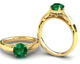 Emerald Engagement Ring 1.50 Carat Emerald Solitaire Ring In 14k or 18k Yellow Gold SJW1GY
