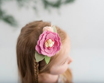 Baby girl's floral nylon headband - Rose Pink - floral headband - Spring Rose Pink