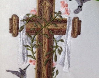 Cross and Hummingbirds Machine Embroidered Quilt Block for Your Creative Project