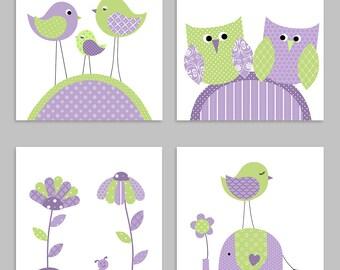 Baby Girl Nursery, Green and Purple Nursery, Girl Nursery Wall Art, Baby Girl Decor, Bird Nursery, Elephant Nursery, Owl Nursery, Flower Art