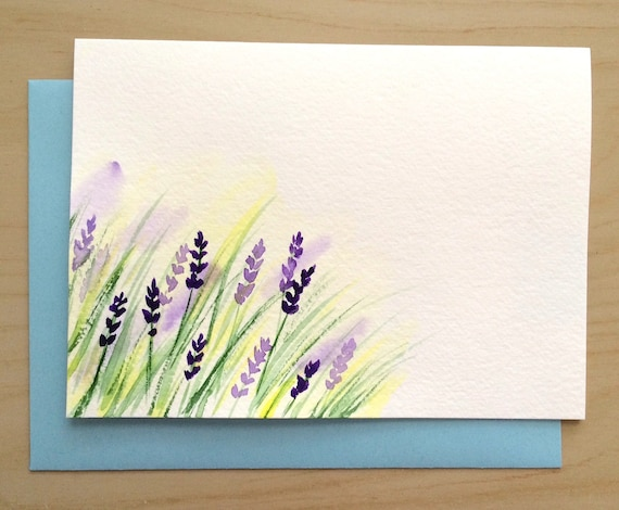Items similar to hand painted greeting card 5x7 lavender blank items similar to hand painted greeting card 5x7 lavender blank card original watercolor cards handmade card with matching envelop on etsy m4hsunfo