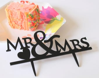 Mr and Mrs Black Acrylic Wedding Cake Topper - Romantic Toppers - Bride and Groom Anniversary Engagement Party