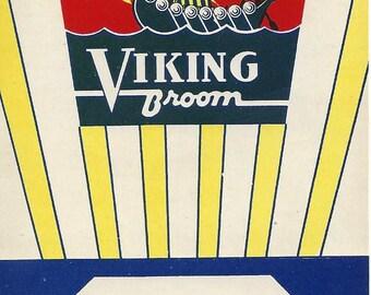 Vintage N.R.O.G. Viking Broom Original Lithograph Broom Label, 1935