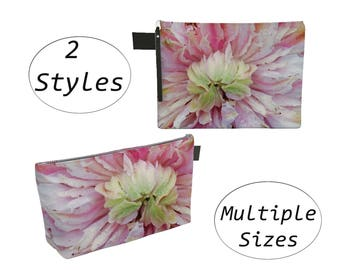 Pink Floral Pouch Carry All, Zippered Clutch, Big Large, For Makeup Cosmetics Toiletry Laptops Tablet, Diapers Travel Carryall, Pastel Green