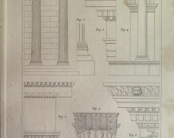 1852 Fine antique greek architecture print, vintage Ionic order engraving, original ancient design art ornaments decorations pattern plate.