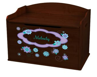 Personalized Coralscope Espresso Toy Box Bench
