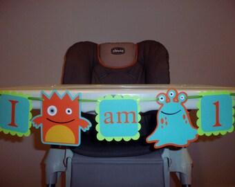 MONSTER birthday banner, I AM 1 banner, High chair banner - small banner,  BOY birthday. first birthday. Monster,