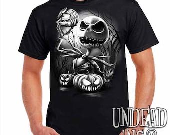 Nightmare Before Christmas Pumpkin King Jack Skellington - Mens T Shirt Black Grey