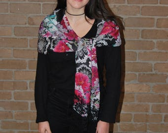 Beautiful floral lace Printed silk /wool ,stole with Black Chantilly Lace