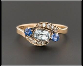 Antique Aquamarine Sapphire & Diamond Ring | Antique Ring | Aqua Ring | 10k Gold Ring | Aquamarine Ring