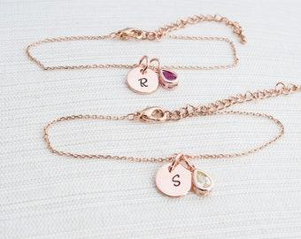 Rose Gold initial & Birthstone Bracelet, Rose Gold Bracelet, Birthstone bracelet, Initial Bracelet, Dainty bracelet