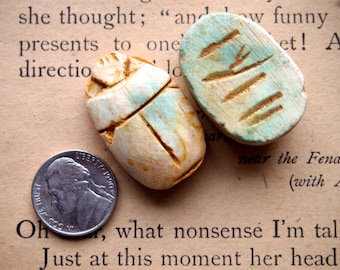 Giant 25x35mm Matte Blue Green and Brown Egyptian Faience Scarab Bead
