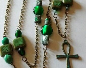 Extra long beaded Ankh necklace