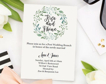 Wedding Brunch Invitation, Green Brunch Invite, Post-Wedding Brunch Invitation, Newlywed Brunch, Editable INSTANT DOWNLOAD, Editable File