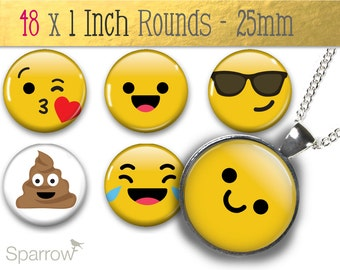Emojis & Emoticons - 1X1 (One) Inch Round Collage Images - Digital Sheet - Pendant Images - Buy 2 Get 1 Free - Digital Download - 25mm Image