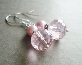 Sterling Silver Pink Earrings Wedding Jewelry Bridesmaid Gift Idea Bridal Jewelry Dangle Earrings Silver Jewelry For Women Crystal Earrings
