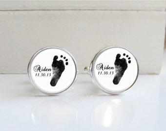 Fußabdruck-Manschettenknöpfe, personalisierte Manschettenknöpfe mit Fußabdruck Ihres Kindes, Manschettenknöpfe für Papa erstellt