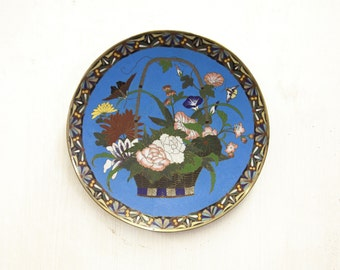 Beautiful Antique Japanese Cloisonne Charger with Basket of Flowers and Butterflies