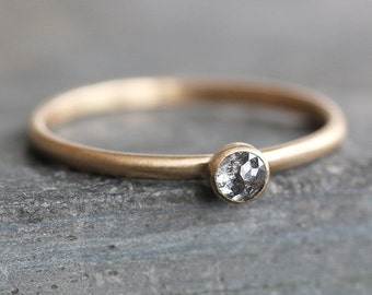 Rose-Cut Blue / Grey Diamond Ring -14K Solid Gold Band - 3mm Conflict Free Natural Salt and Pepper Diamond - Stacking Ring