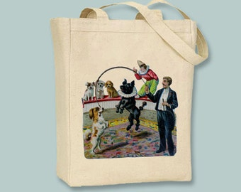 Vintage Circus Performing Dogs illustration Canvas Tote -- Selection of  sizes available